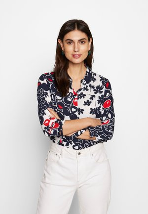 Button-down blouse - navy/red/offwhite