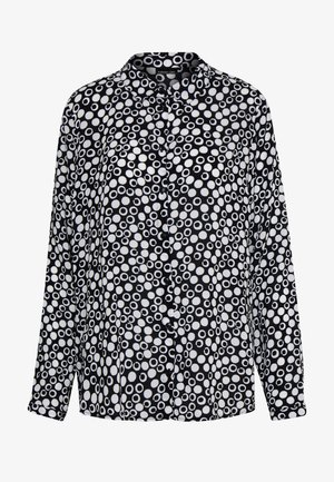 BLUSE GEMUSTERT - Button-down blouse - black/offwhite