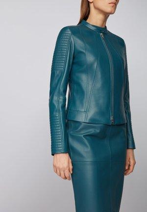 SAVIZA - Leather jacket - dark blue