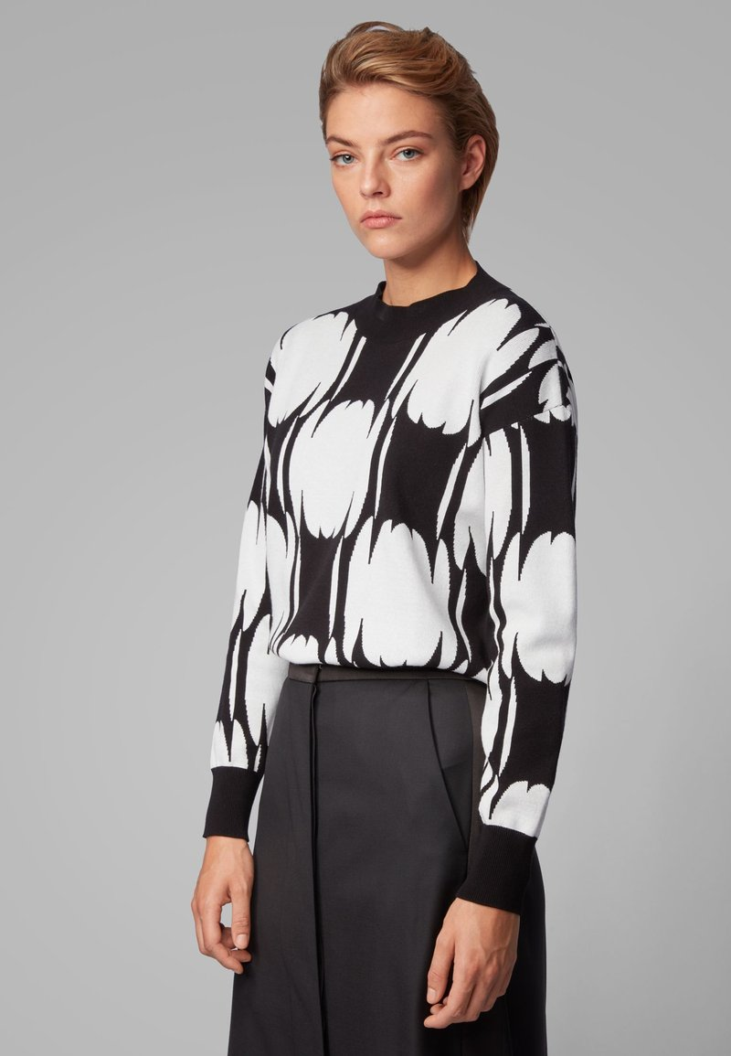 BOSS - Strickpullover - black/white