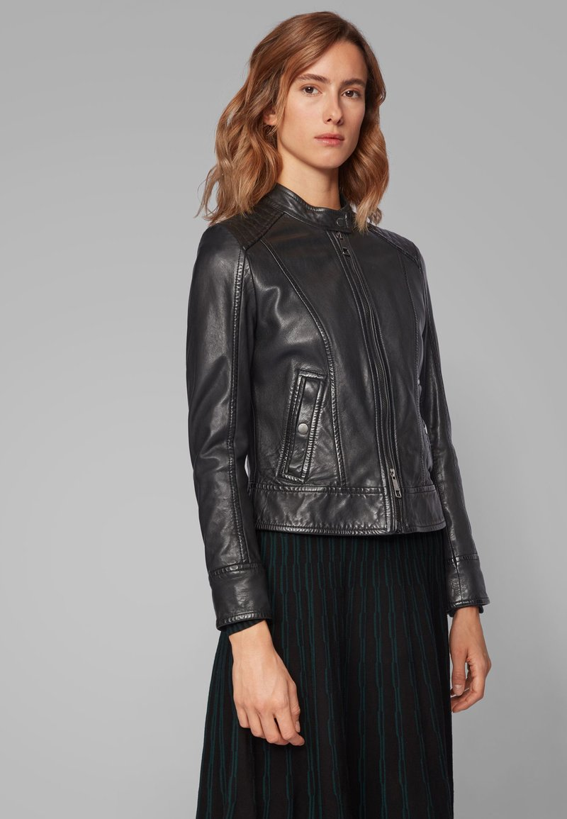 BOSS - JAMLY - Leather jacket - black
