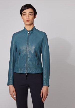 JABELIA - Leather jacket - open blue