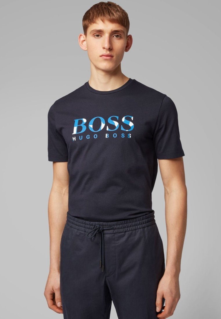 BOSS - TIBURT - T-Shirt print - dark blue