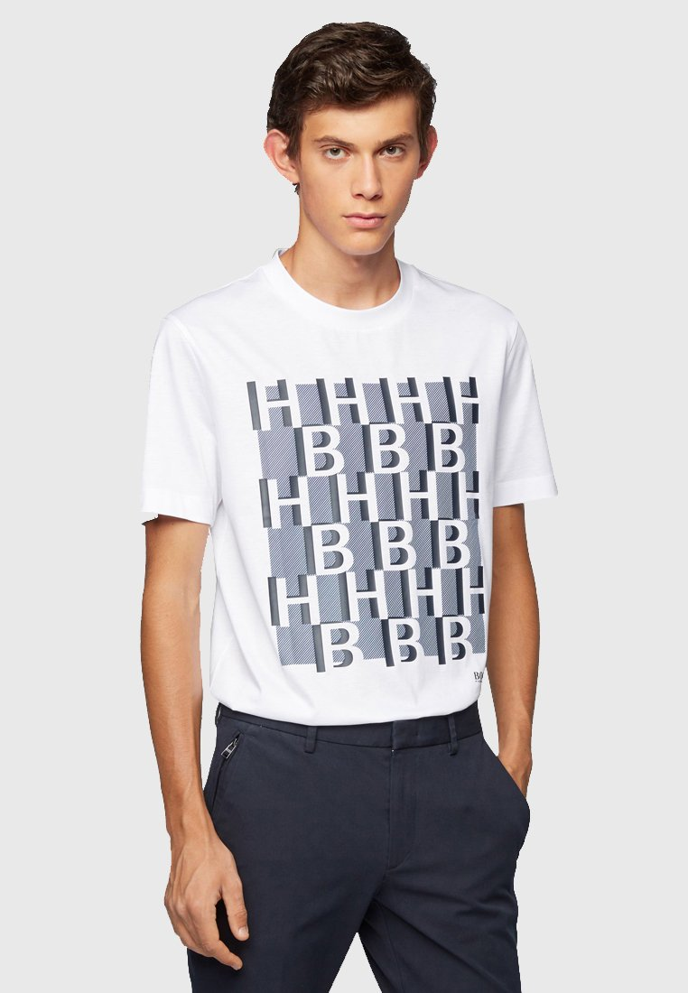 BOSS - REGULAR FIT - Print T-shirt - white