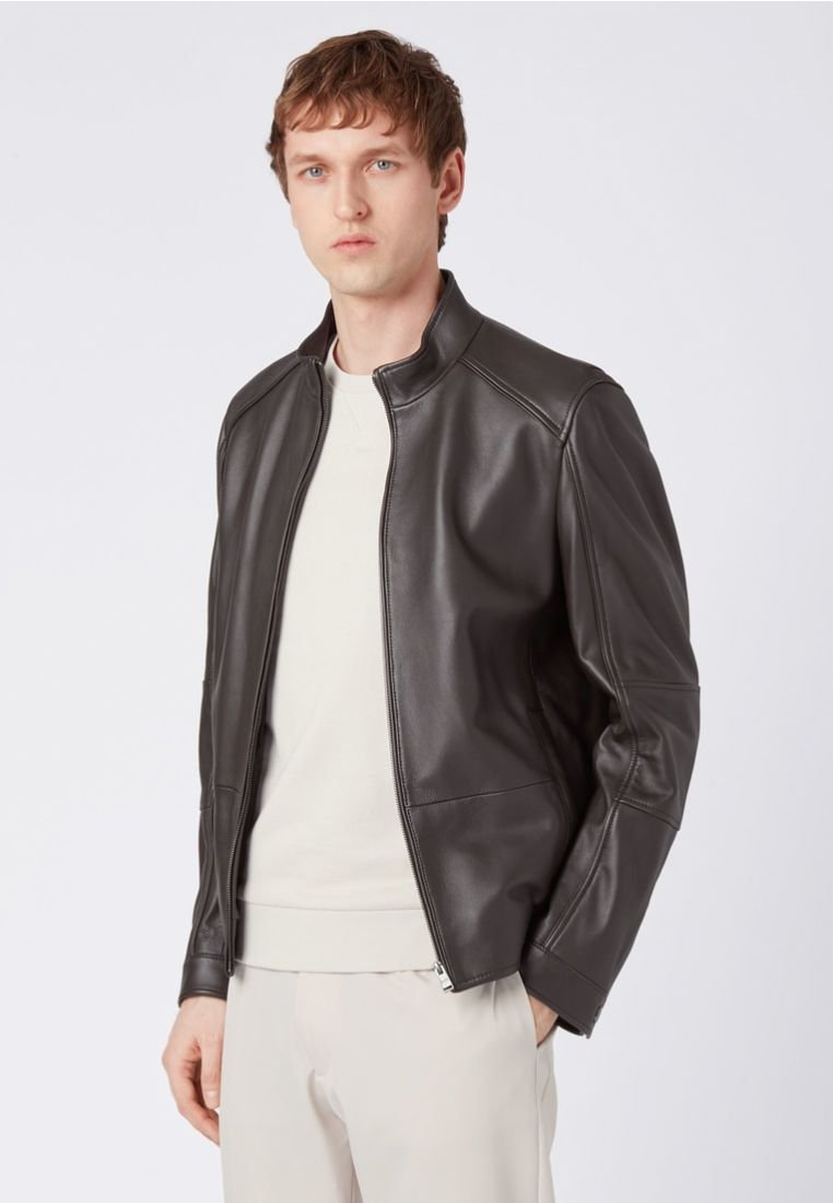 BOSS - NIKAS Regular Fit  - Leather jacket - dark brown