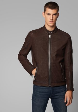 JEEPO2 - Leather jacket - dark brown