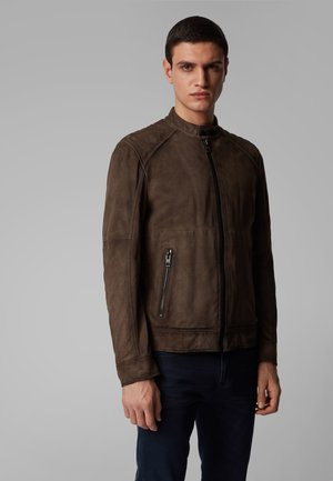 JETRIK - Leather jacket - dark grey