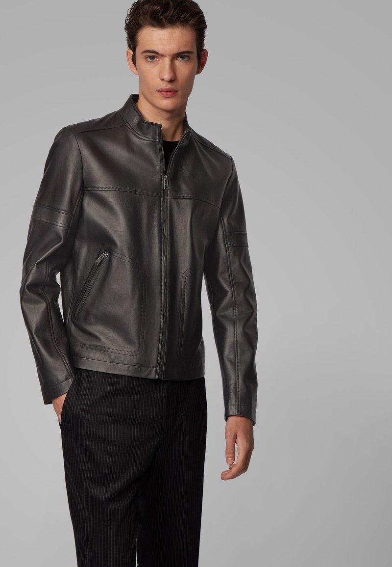 BOSS - NIDAN - Leather jacket - black