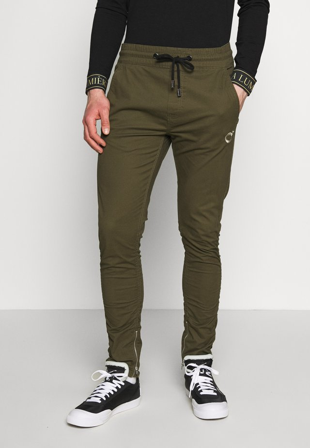 RUCHED LEG TROUSERS - Trousers - khaki