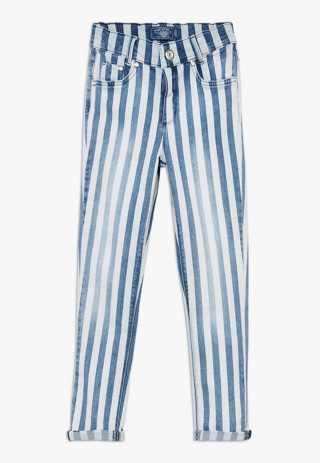 GIRLS HIGH WAIST CROPPED - Jeans Skinny Fit - blau/weiß
