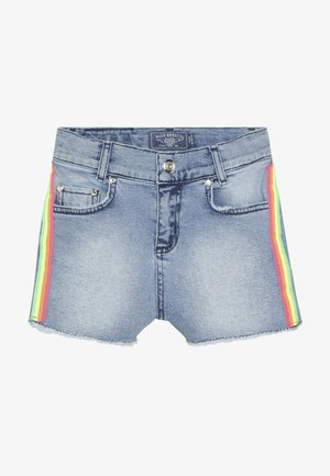GIRLS HIGH WAIST STREIFEN - Denim shorts - light blue