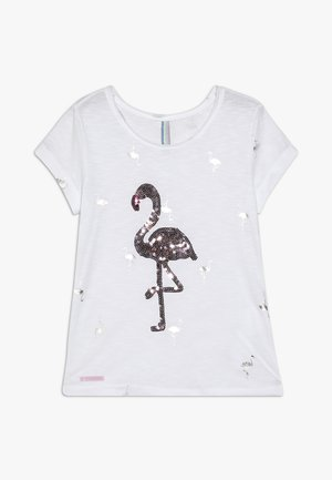 GIRLS PAILLETTEN FLAMINGO - T-shirt con stampa - schneeweiss