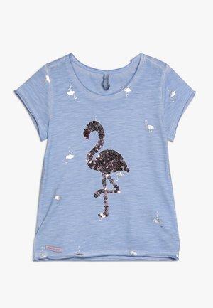 GIRLS PAILLETTEN FLAMINGO - T-shirts med print - skyblue