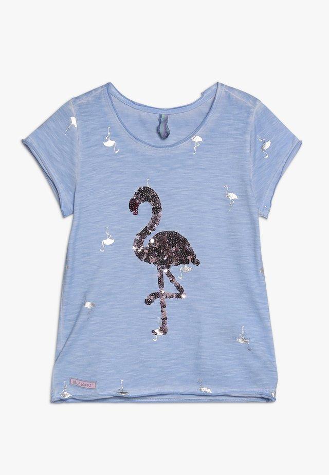 GIRLS PAILLETTEN FLAMINGO - T-shirt print - skyblue