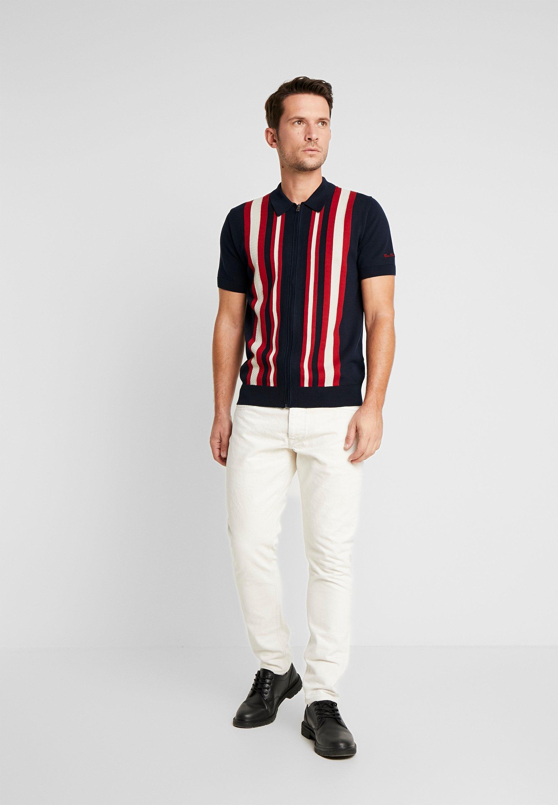 Ben Sherman Textured Stripe Zip Thru - Camicia Dark Navy 6HkPV