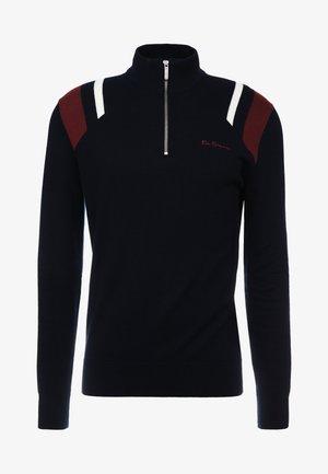 STRIPE ZIP FUNNEL NECK - Stickad tröja - black