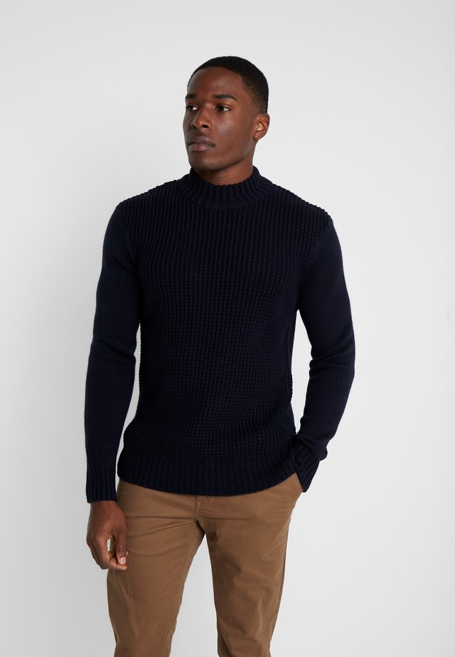HEAVY STRUCTURE FUNNEL CREW - Strickpullover - dark navy