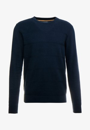 ENGINEERED TEXTURED STRIPE CREW - Pullover - dark navy
