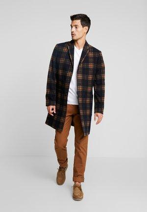 CHECK LONG TAILORED COAT - Abrigo - black