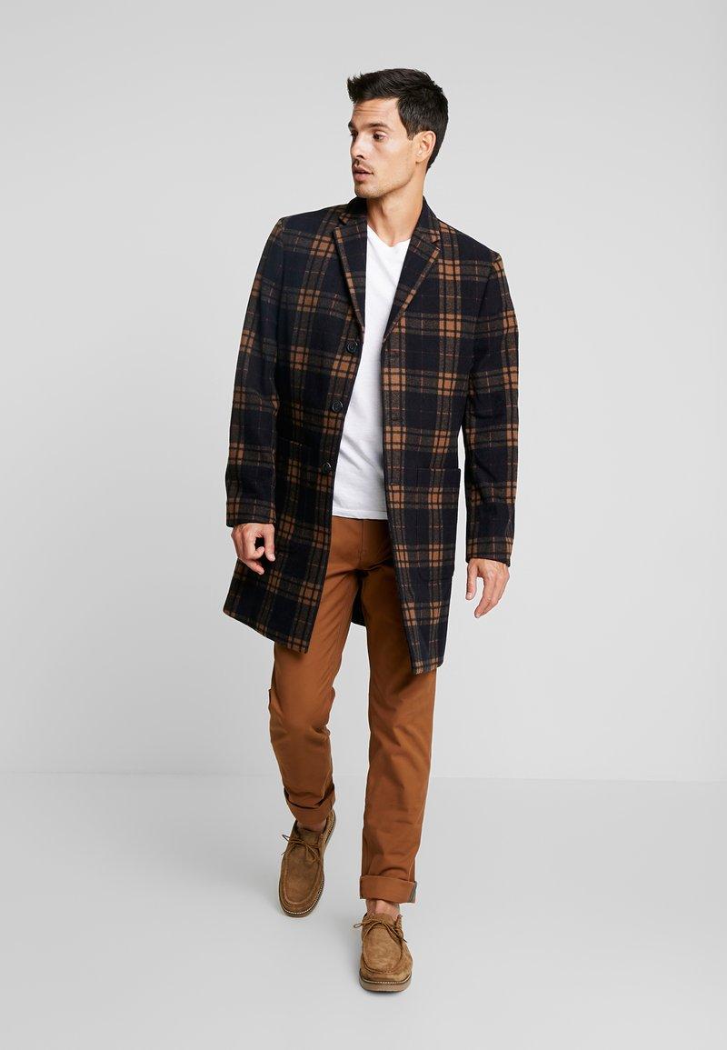 Ben Sherman - CHECK LONG TAILORED COAT - Classic coat - black