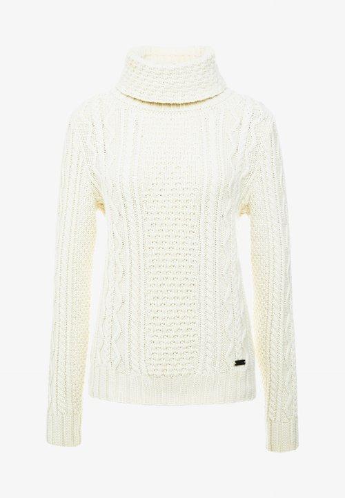 tani Belstaff MIA CABLE ROLL NECK - Sweter - ivory Odzież Damska ZYBB-EH6