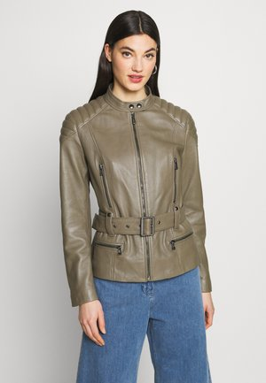 MOLLY JACKET - Leather jacket - sage green