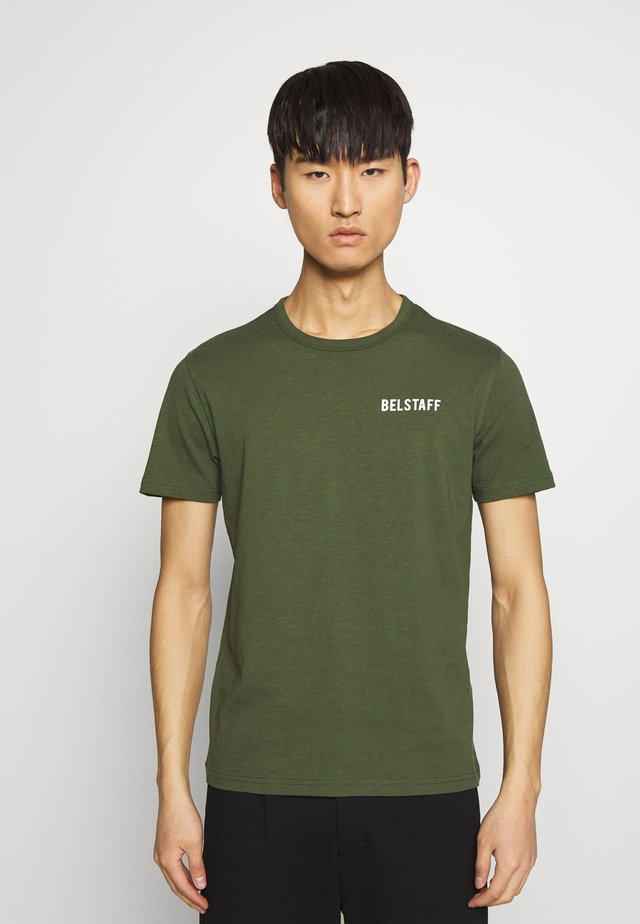 BELSTAFF CHECKERED BORDER GRAPHIC - Print T-shirt - rifle green
