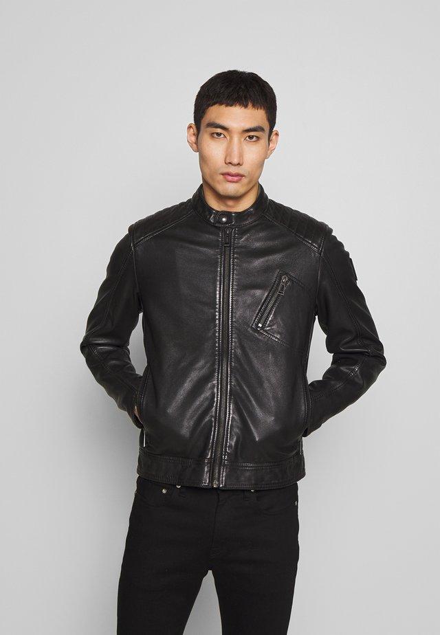 RACER - Leather jacket - black