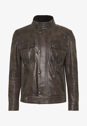Big & Tall GANGSTER - Leather jacket - sage green