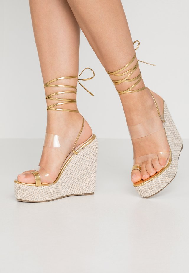 PERSIA - High heeled sandals - clear/gold