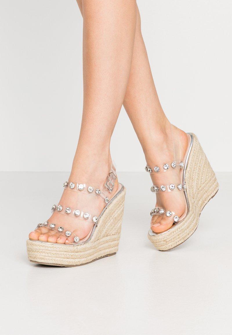 BEBO - VILLA - Sandaler med høye hæler - clear/silver
