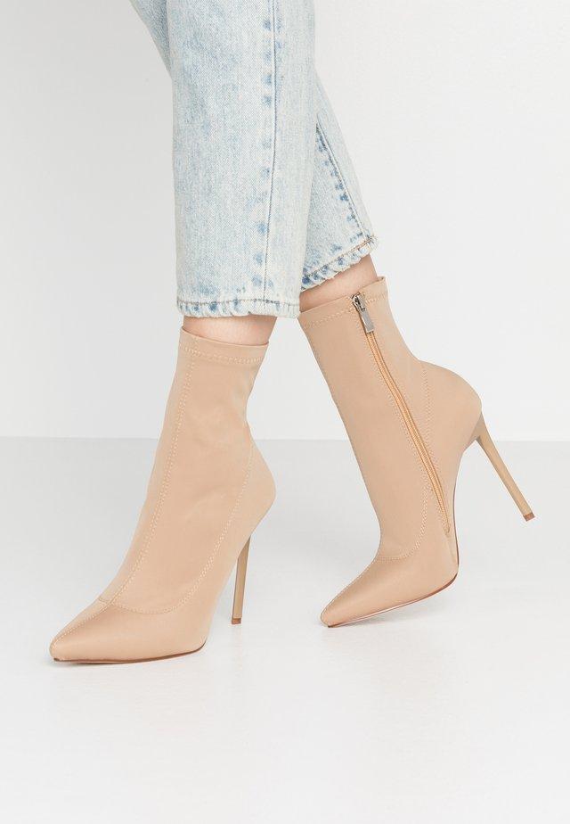 JOHANNA - High heeled ankle boots - nude