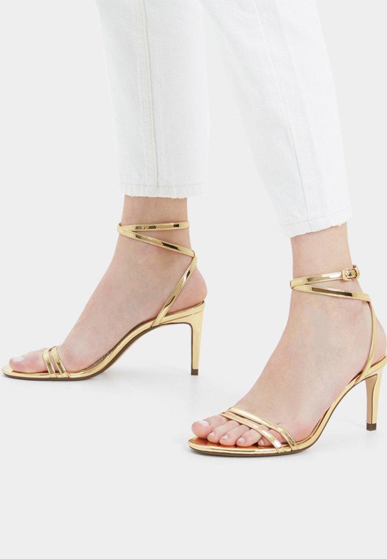 Bershka - Højhælede sandaletter / Højhælede sandaler - gold