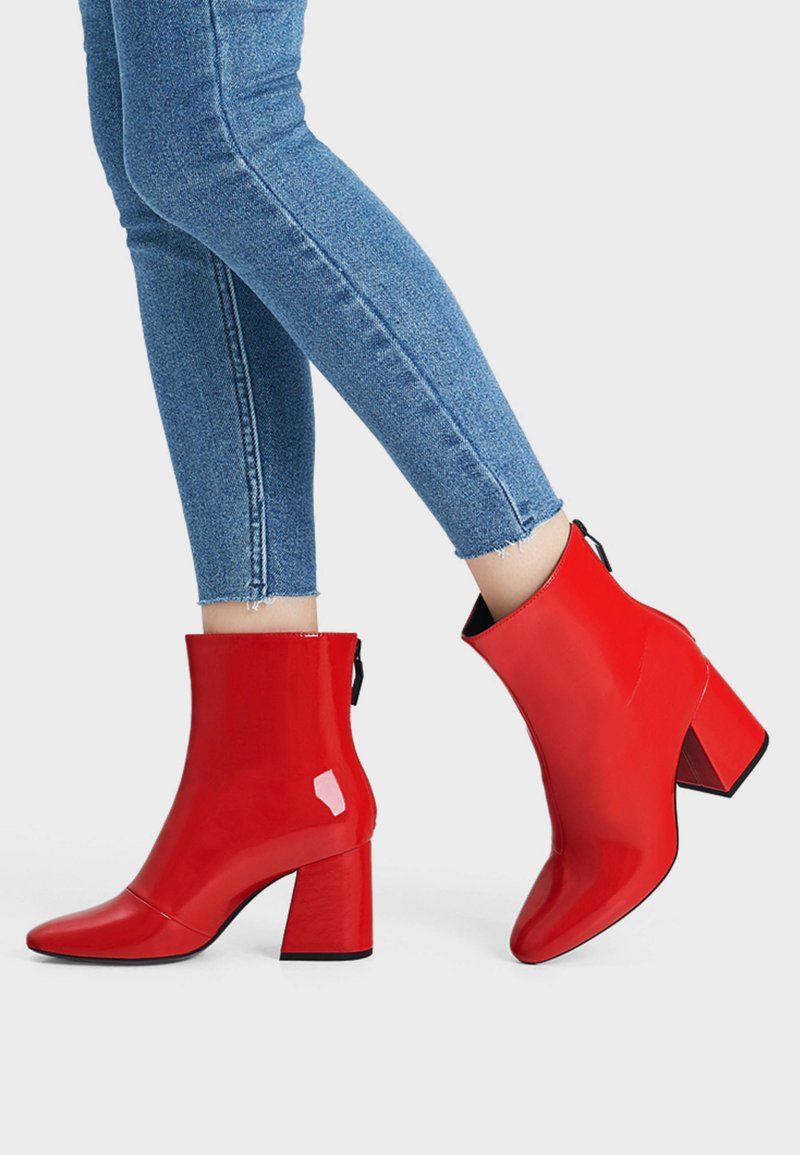 Bershka - Classic ankle boots - red