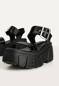 Bershka - Platform sandals - black - 5