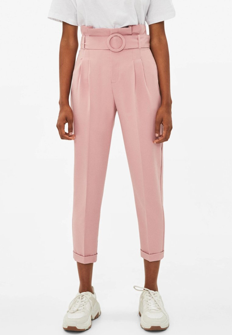 Bershka - PAPERBAG - Trousers - rose