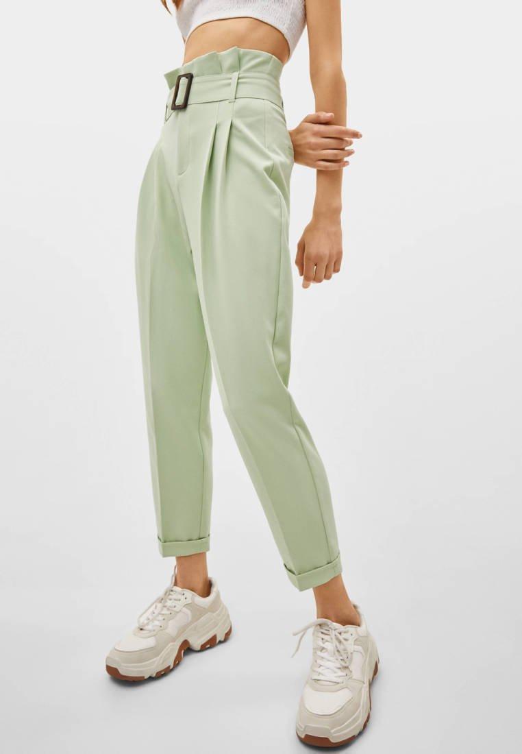 Bershka - PAPERBAG - Pantaloni - turquoise