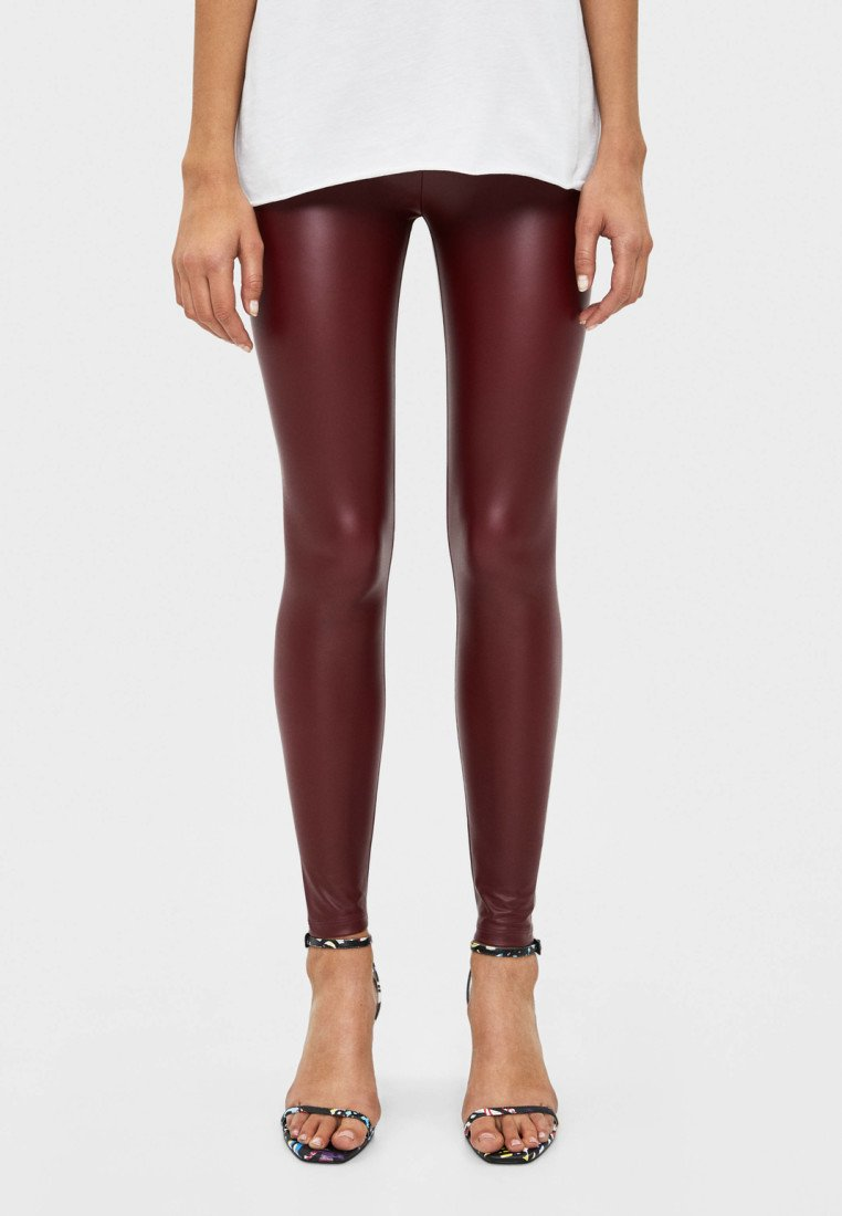 Bershka - Leggings - bordeaux