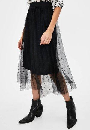 Veckad kjol - black
