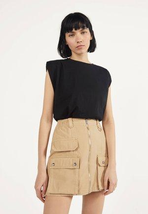 MIT REISSVERSCHLUSS 00569019 - A-line skirt - beige