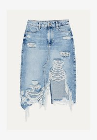 Bershka - MIT RISSEN - Denim skirt - blue denim - 5