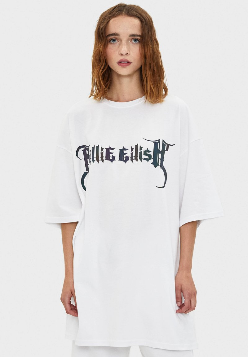 Bershka - BILLIE EILISH - Long sleeved top - white