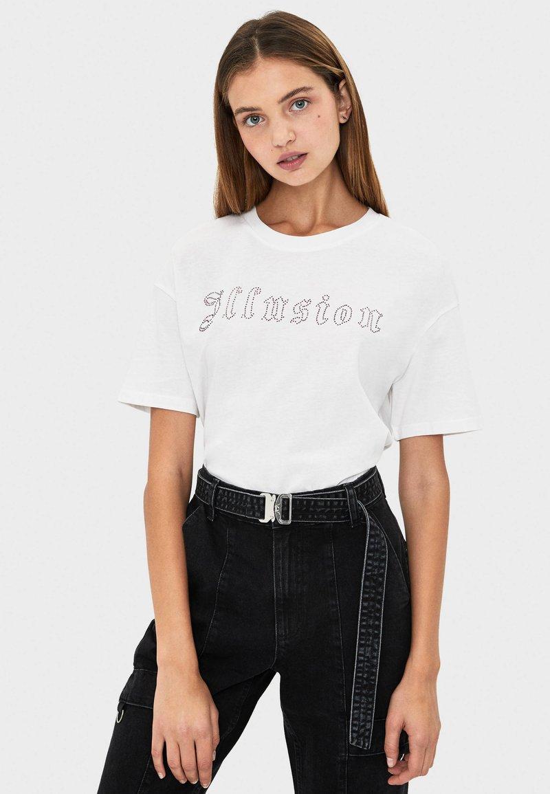 Bershka - MIT STRASS - T-shirt print - white