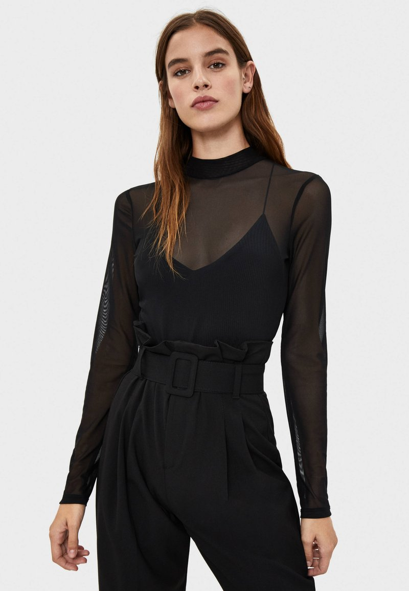 Bershka - T-shirt à manches longues - black