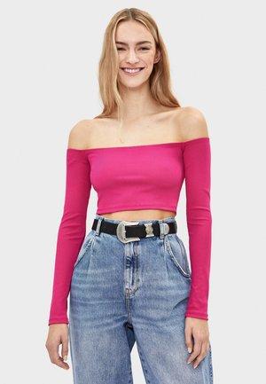 GERIPPTES TOP MIT CARMEN-AUSSCHNITT 03011256 - Bluzka z długim rękawem - neon pink