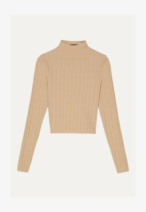 LANGARMSHIRT IM RIPPENSTRICK 01678315 - Sweter - beige