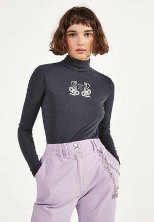HEMD MIT STEHKRAGEN UND PRINT 02194168 - Long sleeved top - black