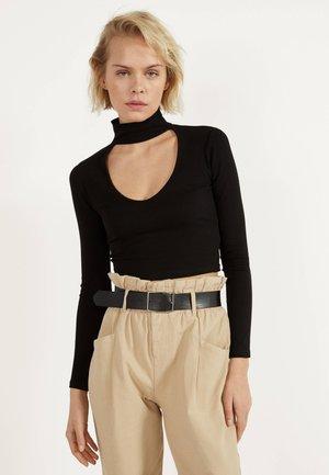 SHIRT MIT CHOKER 01960381 - Long sleeved top - black