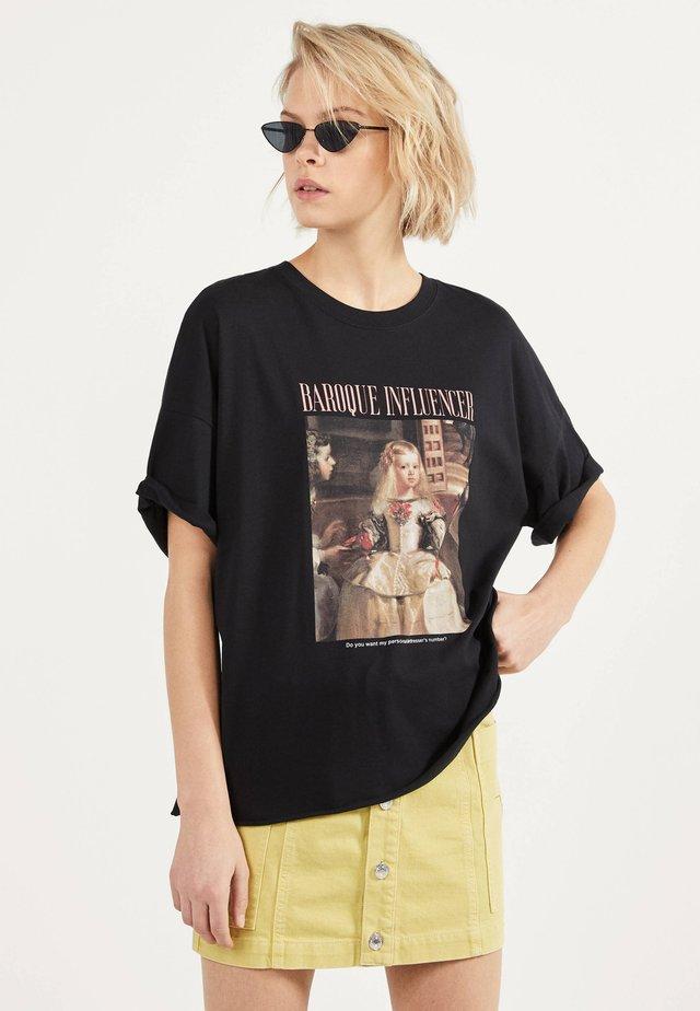 MENINAS - T-shirt med print - black