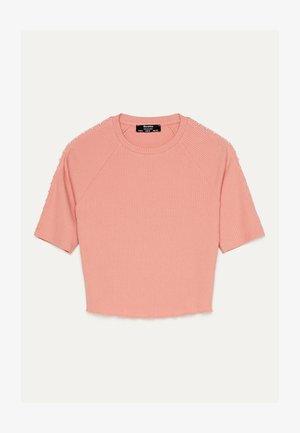 MIT PERLENBESATZ  - Print T-shirt - orange